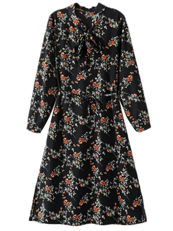 latest Printed Tie Neck Long Sleeve Dress - BLACK ONE SIZE