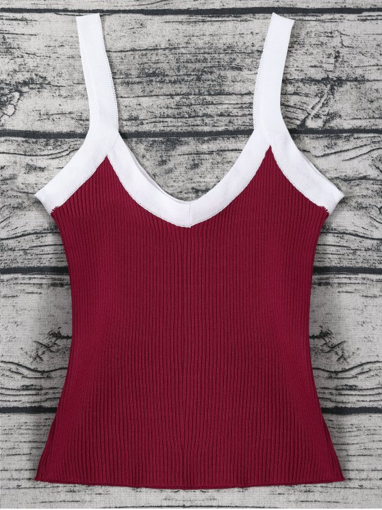 Color Block Knitted Ribbed Tank Top - WINE RED ONE SIZE Mobile