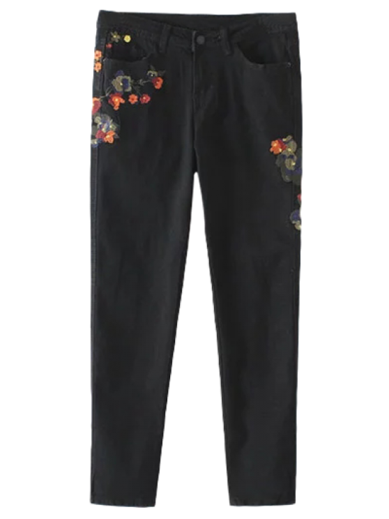womens Slim Floral Embroidered Jeans - BLACK L