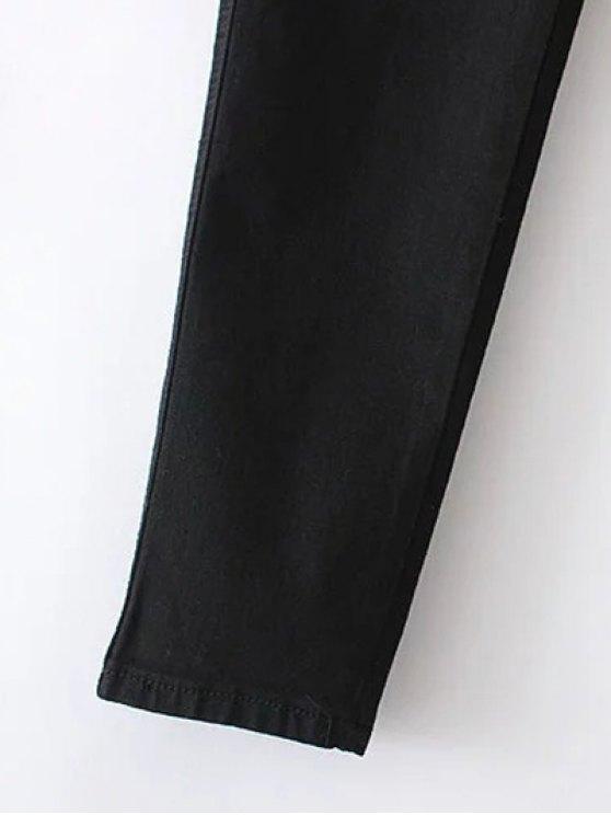 Slim Floral Embroidered Jeans - BLACK L Mobile