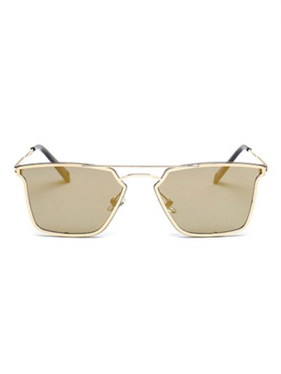 Irregular Double Rims Mirrored Sunglasses - GOLDEN  Mobile
