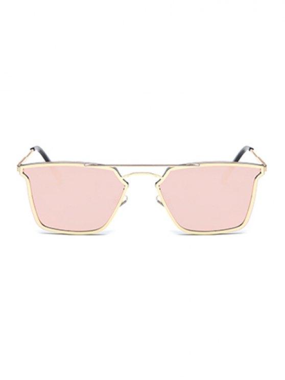 Irregular Double Rims Mirrored Sunglasses - PINK  Mobile