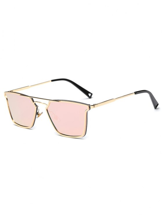 affordable Irregular Double Rims Mirrored Sunglasses - PINK