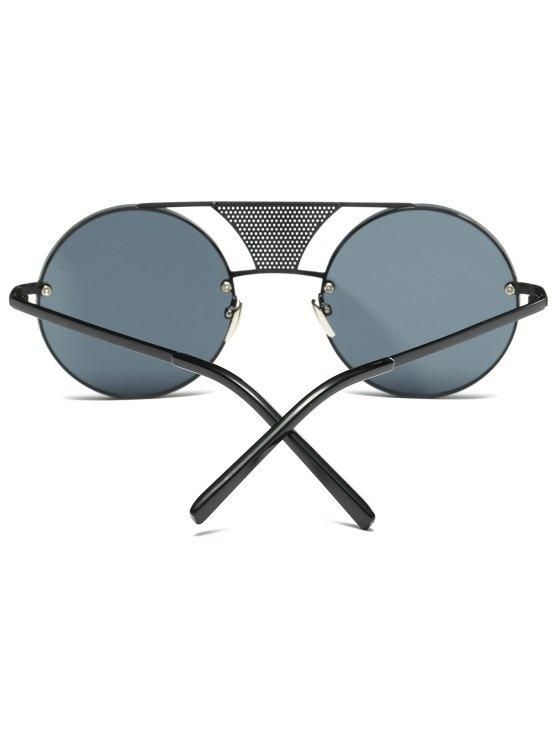 Openwork Mesh Insert Round Sunglasses - BLACK  Mobile