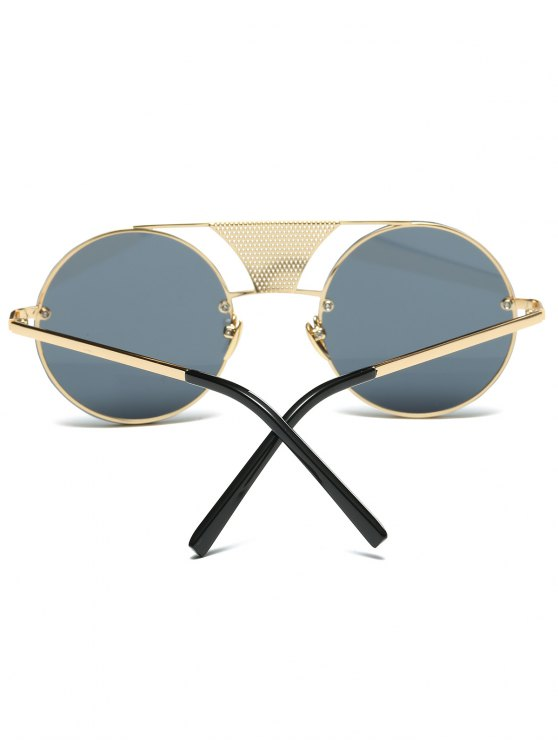Openwork Mesh Insert Round Sunglasses - GOLDEN  Mobile