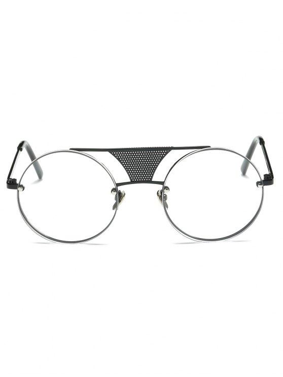 Openwork Mesh Transparent Lens Round Sunglasses - BLACK  Mobile