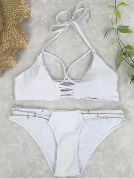 Cutout Crossover Bikini Set - WHITE M Mobile