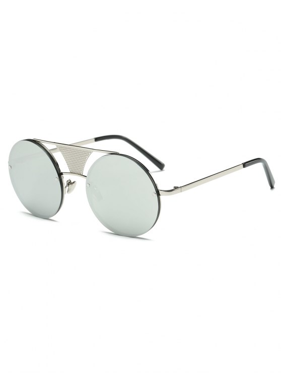 Openwork Mesh Mirrored Round Sunglasses - SILVER  Mobile
