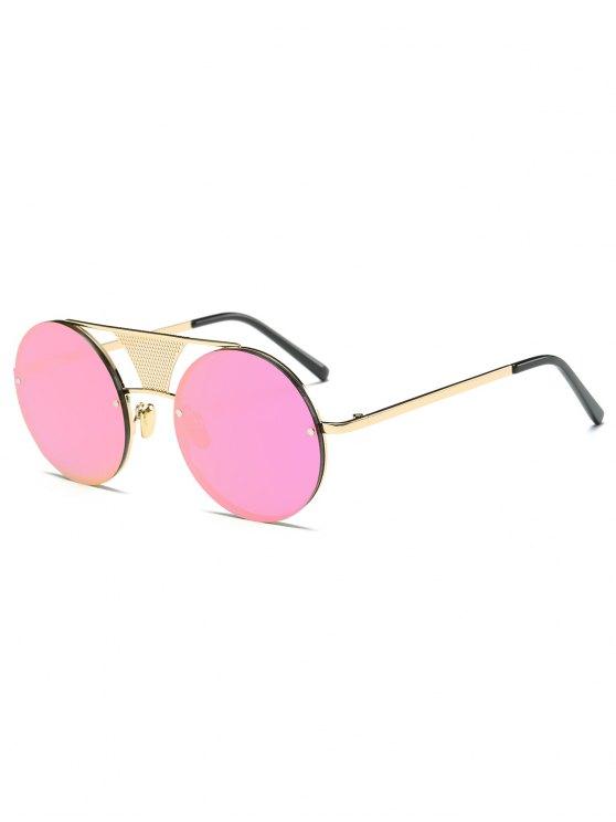 Openwork Mesh Mirrored Round Sunglasses - PINK  Mobile