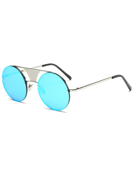 Openwork Mesh Mirrored Round Sunglasses - CLOUDY  Mobile