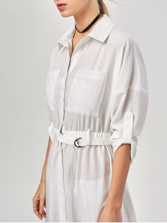 Button Up Belted Maxi Shirt Dress - WHITE M Mobile