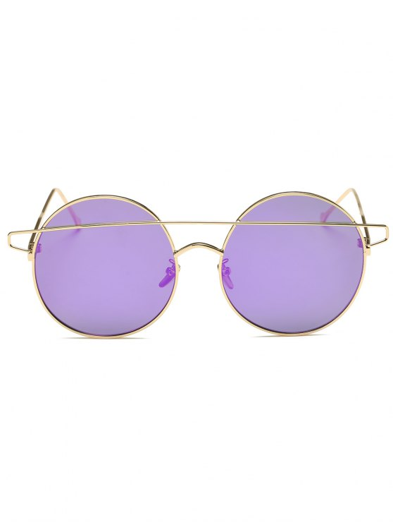 Crossover Mirrored Round Sunglasses - LIGHT PURPLE  Mobile