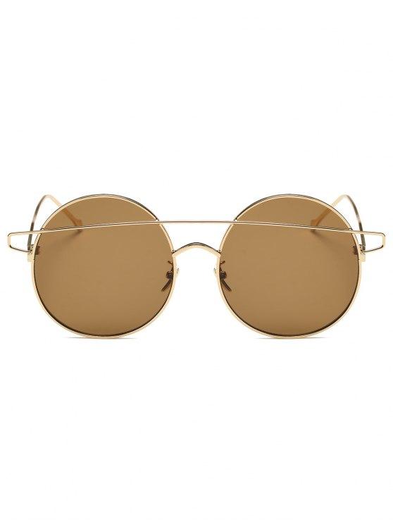 Crossover Mirrored Round Sunglasses - GOLDEN  Mobile
