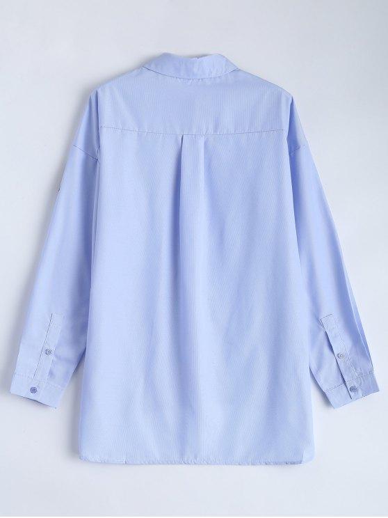 Uneven Hem Striped Miitary Patches Shirt - LIGHT BLUE XL Mobile