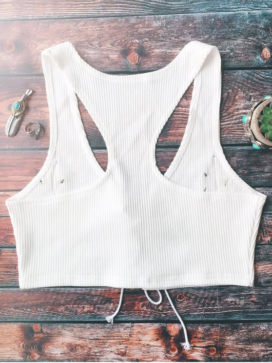 Lace Up Embroidered Knitted Cropped Tank Top - WHITE ONE SIZE Mobile