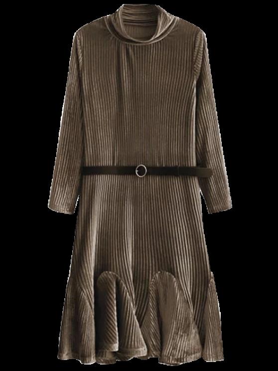 Terciopelo vestido plisado de la sirena - Café S
