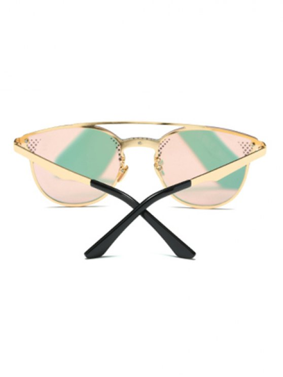 Rhombus Pattern Mirrored Butterfly Sunglasses - PINK  Mobile