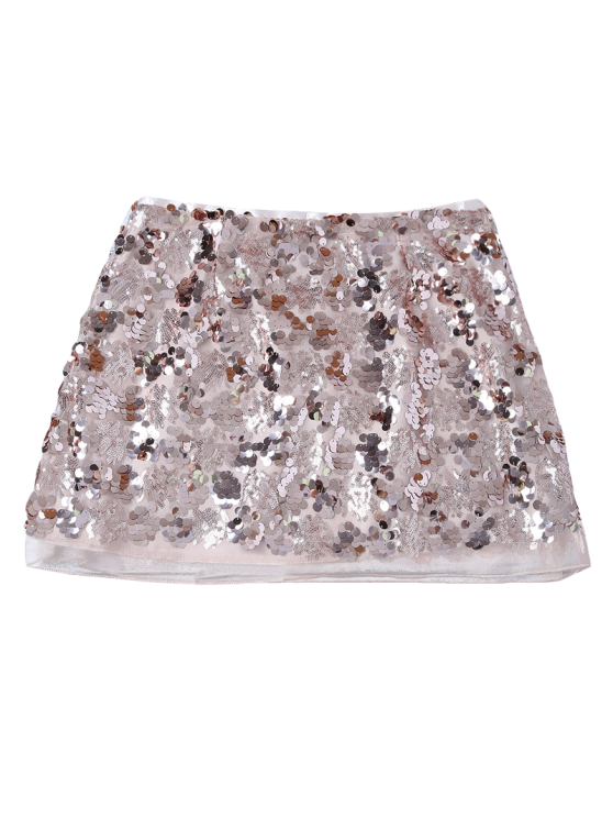 Packet Buttock Mini Sequins Skirt - CHAMPAGNE GOLD S Mobile