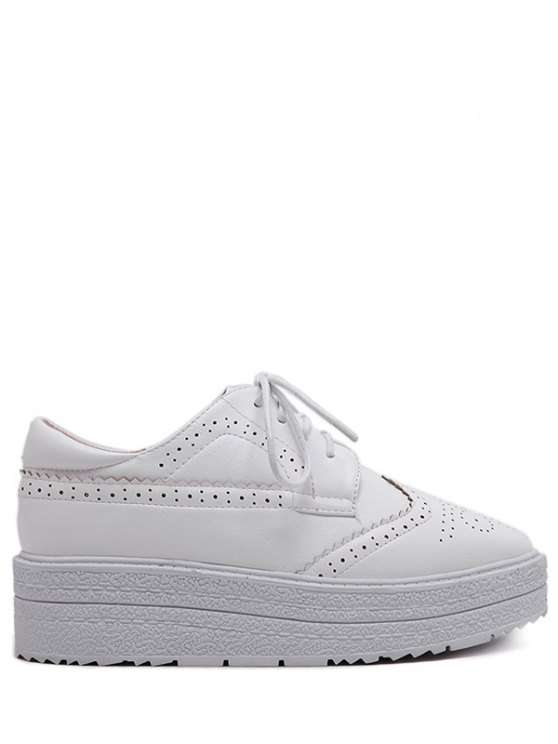 Faux Leather Wingtip Tie Up Platform Shoes - WHITE 38 Mobile