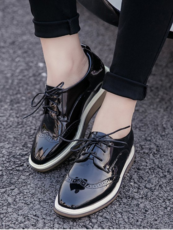Lace Up Engraving Patent Leather Wedge Shoes - BLACK 37 Mobile