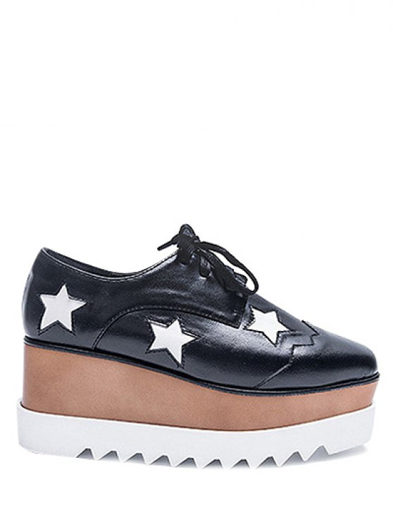 Square Toe Stars Tie Up Wedge Shoes - BLACK 37 Mobile