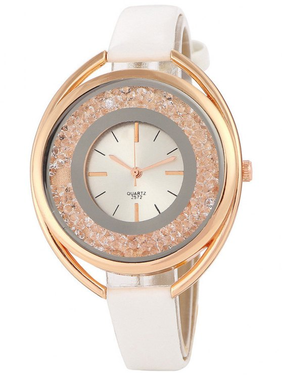 Faux Leather Rhinestone Analog Quartz Watch - WHITE  Mobile