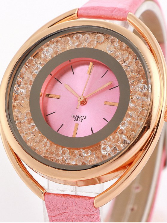 Faux Leather Rhinestone Analog Quartz Watch -   Mobile