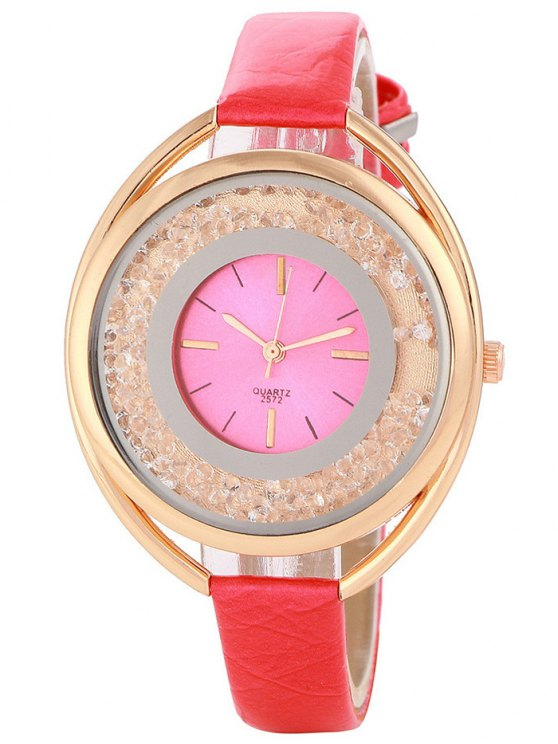 Faux Leather Rhinestone Analog Quartz Watch - RED  Mobile