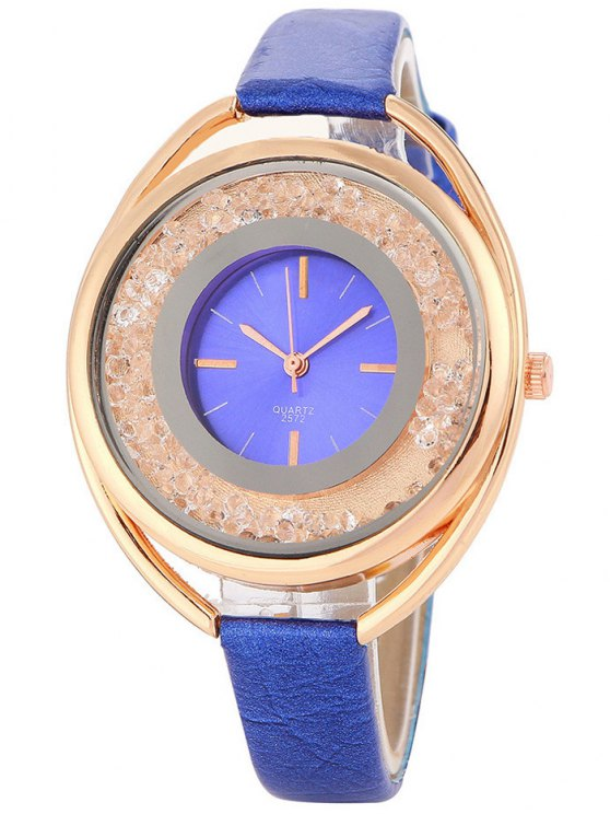 Faux Leather Rhinestone Analog Quartz Watch - BLUE  Mobile