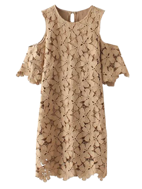 Lace Cold Shoulder Dress - KHAKI M Mobile