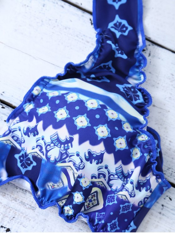 Halter Frilled Porcelain Print Bikini - BLUE AND WHITE XL Mobile