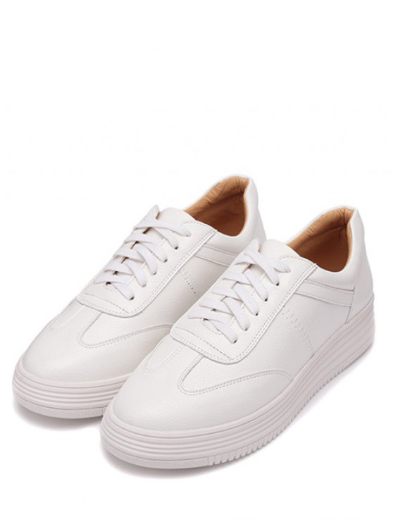 PU Leather Tie Up Round Toe Athletic Shoes - WHITE 38 Mobile