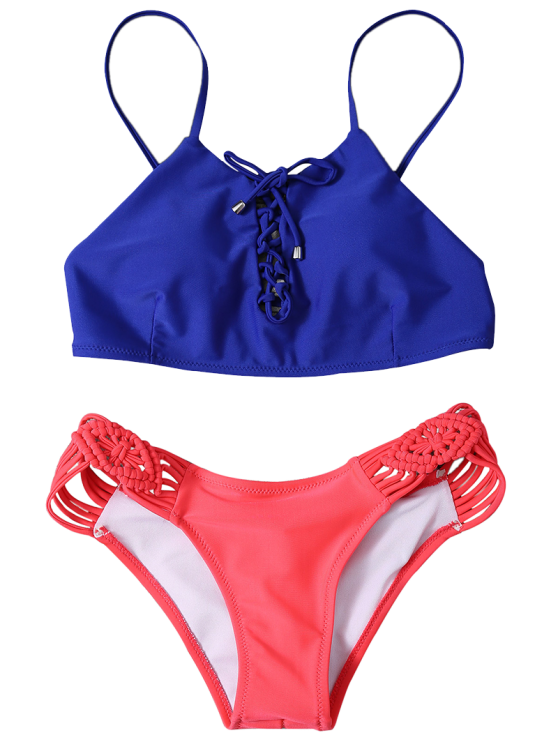 Braided Lace-Up Bikini Set - ROSE RED S Mobile