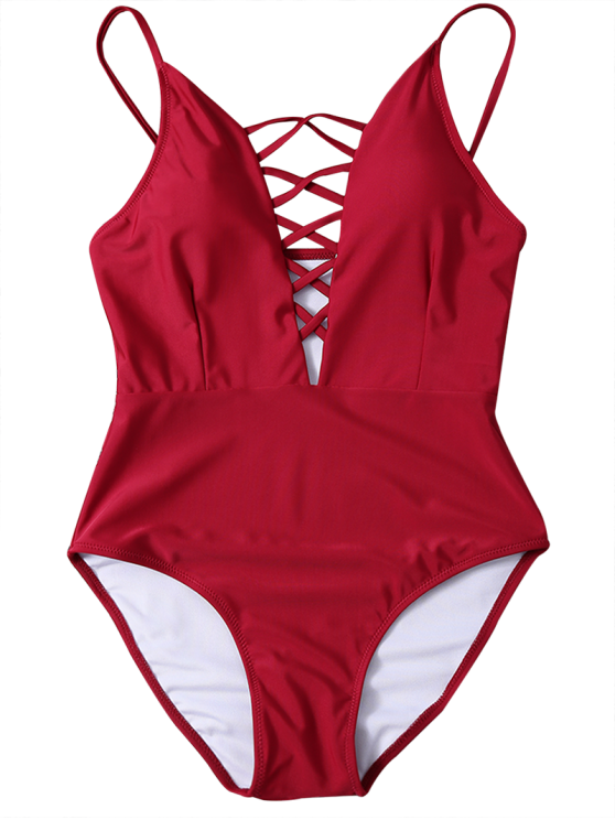 Strappy Lace-Up One-Piece Swimwear - RED M Mobile