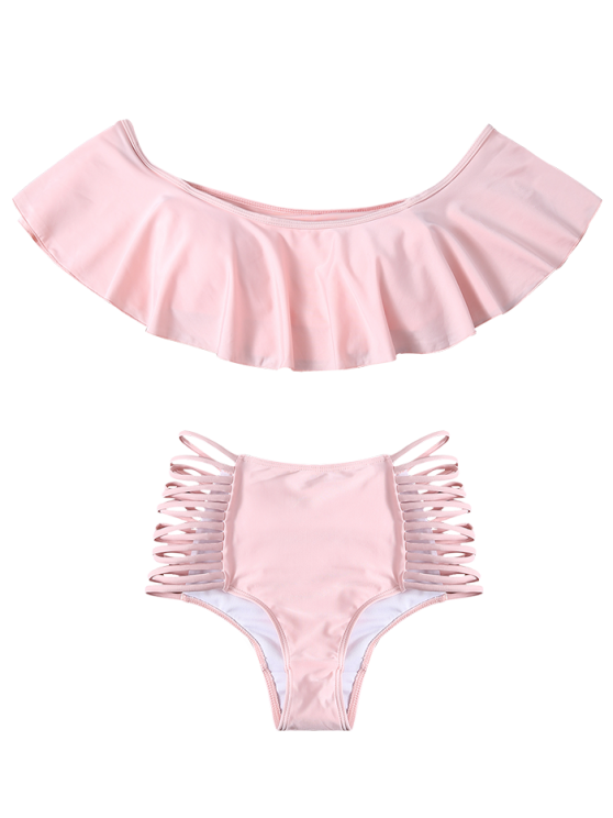 Off The Shoulder Cutout Flounced Bikini Set - PINK M Mobile