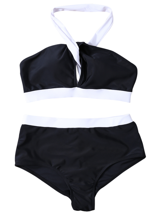 High Waist Color Block Bikini Set - WHITE AND BLACK M Mobile