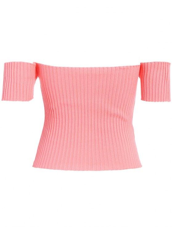Off The Shoulder Rib Knit Crop Top - ORANGEPINK ONE SIZE Mobile