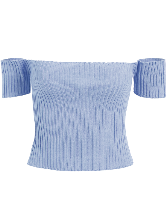 Off The Shoulder Rib Knit Crop Top - LIGHT BLUE ONE SIZE Mobile
