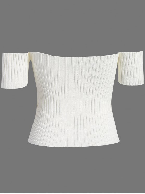 Off The Shoulder Rib Knit Crop Top - WHITE ONE SIZE Mobile