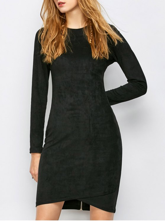 Back Zip Faux Suede Bodycon Dress - BLACK S Mobile