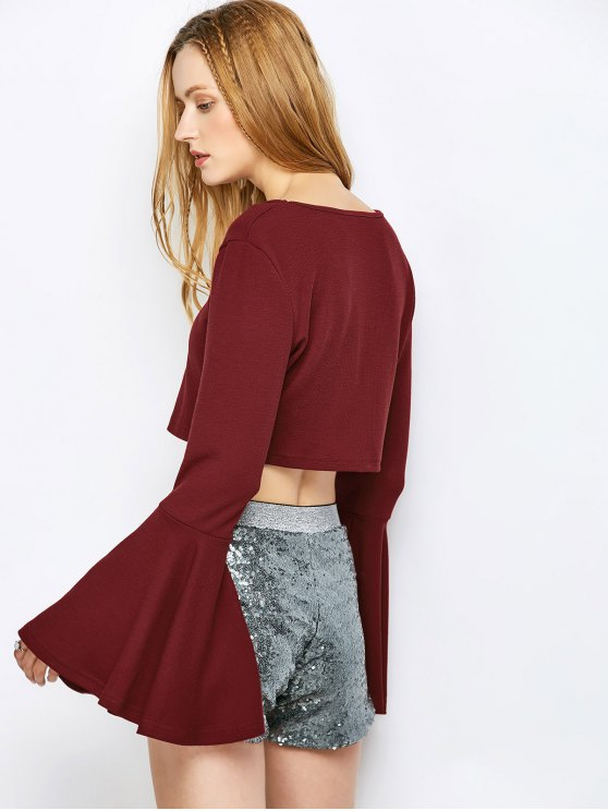 Bell Sleeve V Neck Crop Top - CLARET VIOLET XL Mobile