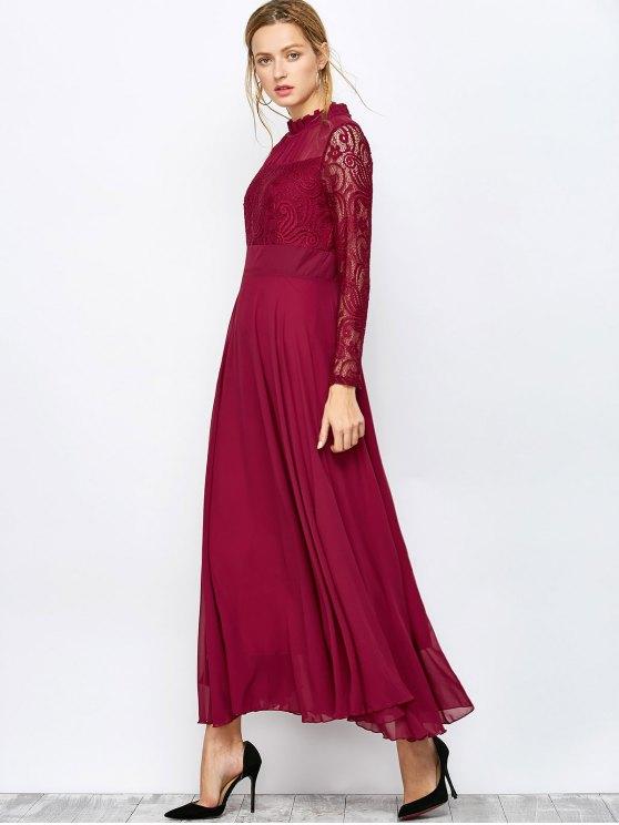 Lace Chiffon Ruffle Collar Evening Dress - BURGUNDY M Mobile