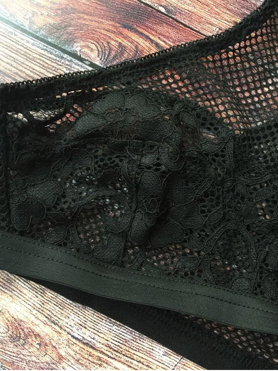 Mesh Y Back Lace Bra - BLACK 2XL Mobile