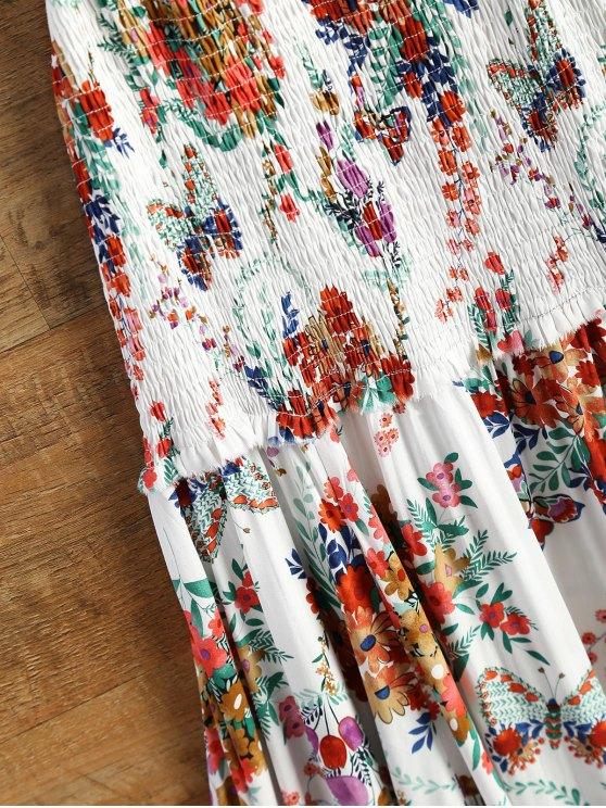 Smocked Flowing Cami Floral Dress - FLORAL S Mobile