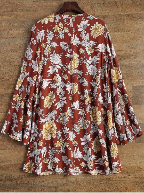 Flare Sleeve Floral Swing Dress - DARK AUBURN S Mobile