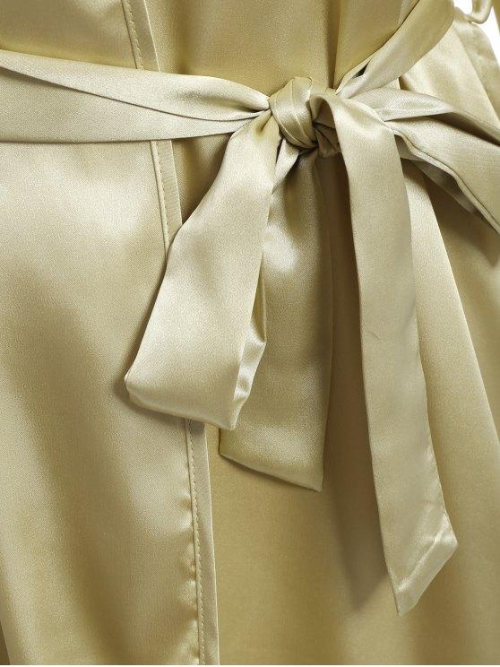 Faux Silk Outerwear and Slip Dress Loungewear - BLUISH YELLOW XL Mobile