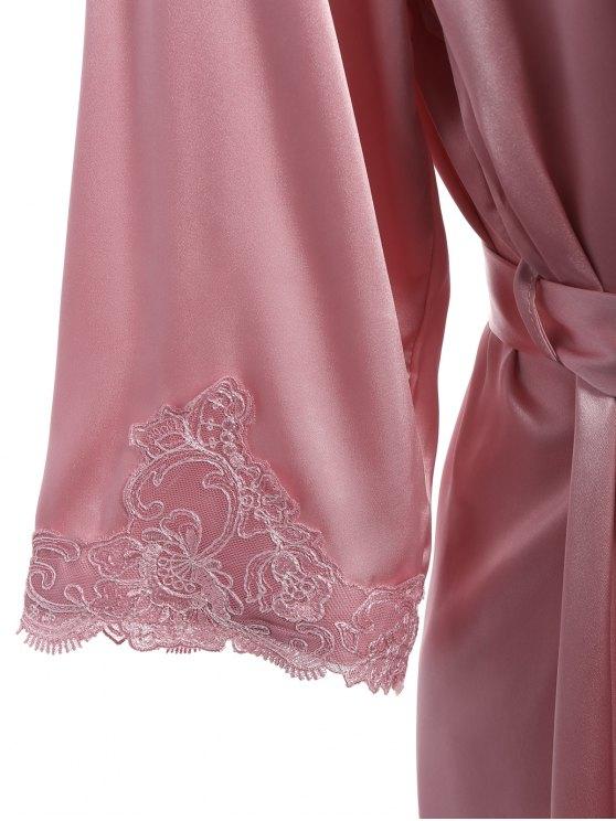 Faux Silk Outerwear and Slip Dress Loungewear - PAPAYA XL Mobile