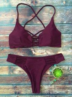Lace-Up Cutout Strappy Bikini Set - Purple M