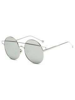 Crossover Mirrored Round Sunglasses - Silver