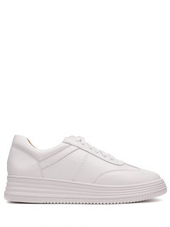 PU Leather Tie Up Round Toe Athletic Shoes - White 38
